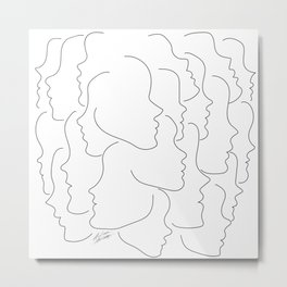 Face Your Truths - Multiple Black Simple Line Face Profiles Metal Print