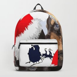 Puppy White Christmas I Saw Mummy Kissing Santa Claus Backpack