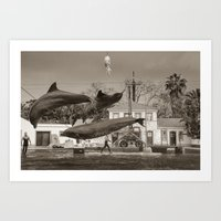 dolphin Art Prints featuring Dolphin by Sébastien BOUVIER