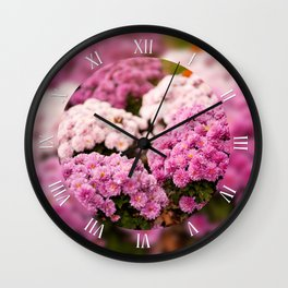 Pink chrysanths bunches in park Wall Clock