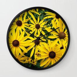 Golden Rudbeckia flowers in the garden Wall Clock