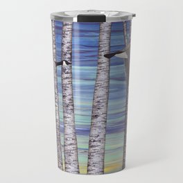 Canada geese, hedgehogs, and autumn birch trees Travel Mug