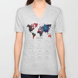 calendar 2020 world map #calendar2020 Unisex V-Neck