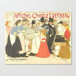 """Théophile Steinlen """"The Street (La rue), poster for the printer Charles Verneau"""" Canvas Print"""