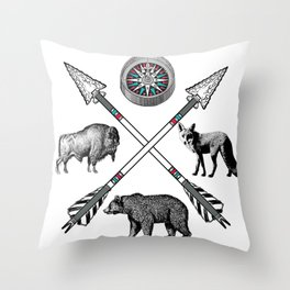 Crossed Arrows Compass Bison Fox Bear Throw Pillow