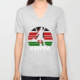 Kenya Soccer Football KEN Unisex V-Neck