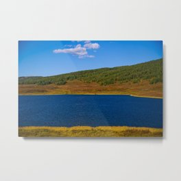 Calm water pond with greenery on mountain in background Metal Print