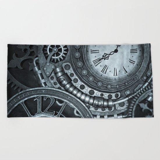 Silver Steampunk Clockwork Beach Towel