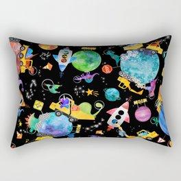Watercolor Dinosaur Space Construction Rectangular Pillow