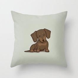Daschund Puppy Illustration Throw Pillow