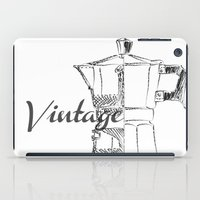 blueprint iPad Cases featuring Coffee pot blueprint sketch  by Eltina Giannopoulou