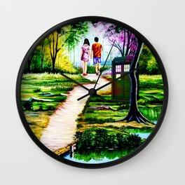 Tardis in a Romantic Place Wall Clock