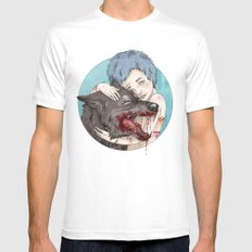 Dog-Eared MEDIUM White Mens Fitted Tee