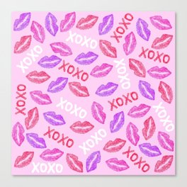 Girly XOXO and Red Pink Watercolor Painted Lips Canvas Print