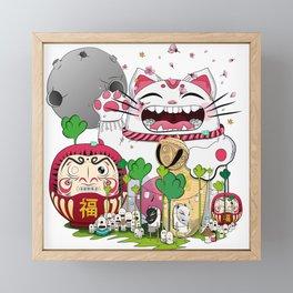 Maneki-neko in the magical world Framed Mini Art Print