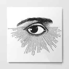 I See You. Black and White Metal Print