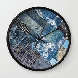 Antique Japanese boro jeans patchwork Wall Clock