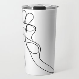 One-line figures entwined in a lover's embrace Travel Mug