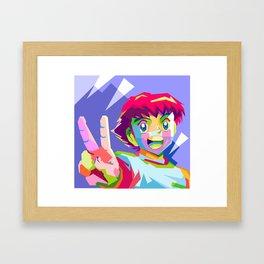 Captain Tsubasa in pop art wpap Framed Art Print