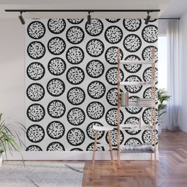 Winter Tree Stump Black and White Pattern Wall Mural