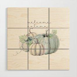 welcome autumn blue pumpkin Wood Wall Art