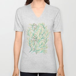 Green & Gold Branches Unisex V-Neck