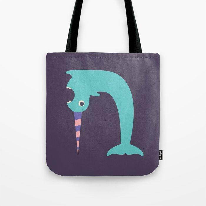 Letter N // Animal Alphabet // Narwhal Monogram Tote Bag