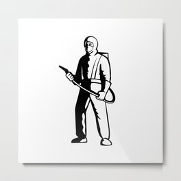 Industrial Worker Spray Disinfectant Standing Retro Metal Print