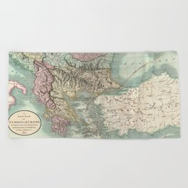 Vintage Map of The Balkans and Turkey (1801) Beach Towel