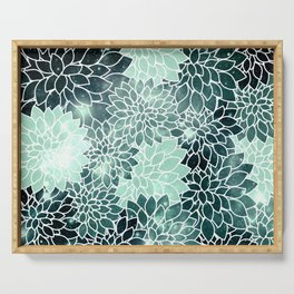 Space Dahlias Spearmint Green Serving Tray