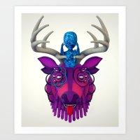 mythology Art Prints featuring Artificial Mythology by Diligence