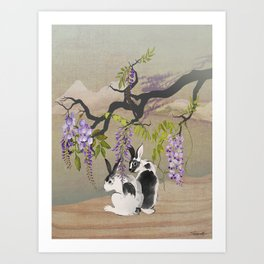 Two Rabbits Under Wisteria Tree Art Print