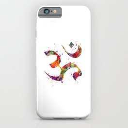 Om Art Colorful Watercolor Gift Aum Symbol Peace Art Spiritual Symbol Gift Hinduism Art Buddhism Art iPhone Case
