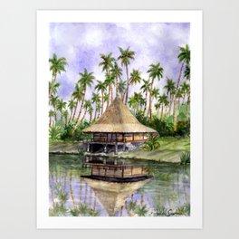 Tropical Cottage Art Print
