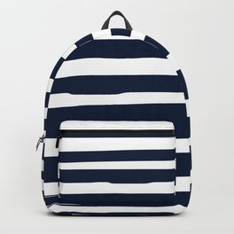 Nautical Ocean Stripes, Navy and White Backpack