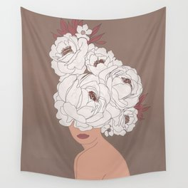 Woman with Peonies Wall Tapestry