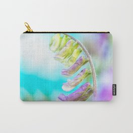 Fresh purple flowers on a blue background Carry-All Pouch