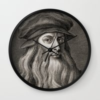 da vinci Wall Clocks featuring Leonardo da Vinci by Palazzo Art Gallery
