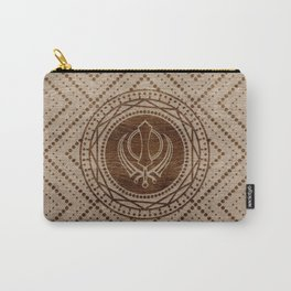 Khanda symbol on wooden texture Carry-All Pouch