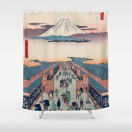 Mount Fuji above Ancient Street Ukiyo-e Japanese Art Shower Curtain