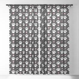 Dog Paws, Traces, Animal Paws, Hearts - Pink Black Sheer Curtain