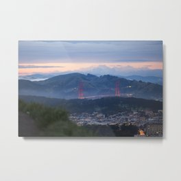 Golden Gate Bridge from Twin Peaks at Sunset Metal Print