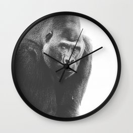 Silverback Gorilla (black + white) Wall Clock