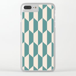 Classic Trapezoid Pattern 240 Teal and Beige Clear iPhone Case