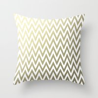 gold foil Throw Pillows featuring Gold Foil Chevron by Zen and Chic