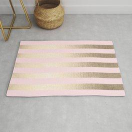 Stripes White Gold Sands on Pink Flamingo Rug