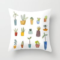cactus Throw Pillows featuring Cactus by Sandra Ovono - Watercolor Art Studio