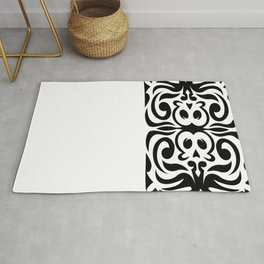 Black and White Decorative Skull Illustration Rug
