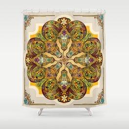 Mandala Sacred Rams - Bright Version Shower Curtain