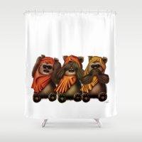 ewok Shower Curtains featuring STAR WARS The Three Wise Ewoks by Tom Brodie-Browne